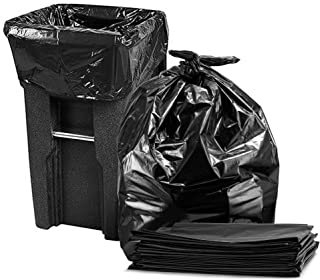 95-96 Gallon Trash Can Liners, Large Black Trash Bags, 25/Case, 61