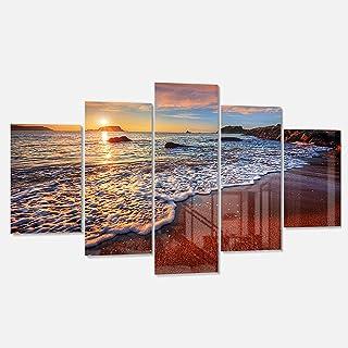 Designart Stunning Ocean Beach at Sunset-Seashore on Canvas Metal Wall Art, 60x32-5 Panels Diamond Shape, Red