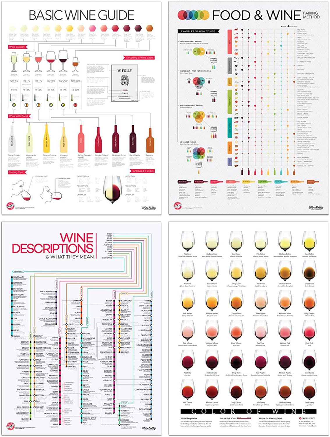 Wine Folly Reference Poster Print Set 4-pc (18  x 24 )