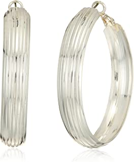 Women's Silver-Tone Thick Etched Hoop Earrings
