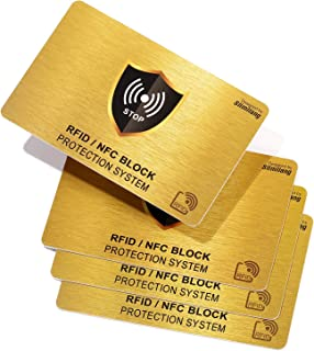 RFID Blocking Card | NFC Contactless Cards Protection | 1 Card Protects Your Entire Wallet | No More Need for Single Sleeves | for Men or Women, Credit Card Holder, Wallets or Passport (Gold)