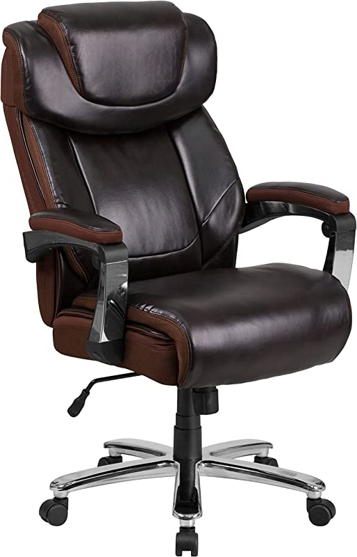 Flash Furniture Big Tall Office Chair Brown LeatherSoft Executive Swivel Office Chair With Headrest And Wheels