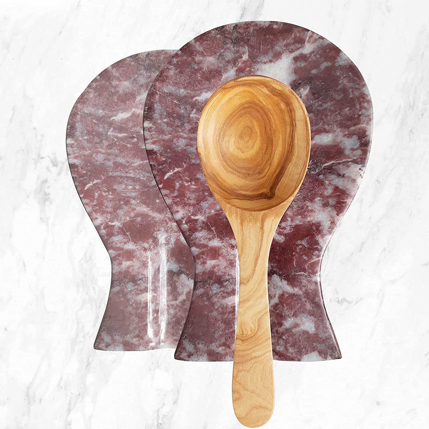 Luxury Handmade Red and Max Sales for sale 63% OFF White Marble Rest Spoon for Coun Kitchen
