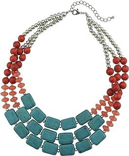 BOCAR, collana in turchese con perle spesse, regalo perfetto da donna
