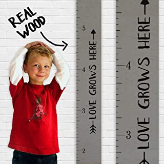 Growth Chart Art | Love Grows Here Wooden Height Chart | Tribal Wood Growth Chart for Babies, Kids, Boys & Girls (Tribal Grey)