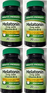 Nature's Measure Melatonin 3mg 30 tablets with Vitamin B-6 Relax and Sleep Dietary Supplement 30ct. (4 Bottles)