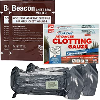 Ever Ready First Aid Combo Pack with QuikClot Gauze, Israeli Bandage and Beacon Vented Chest Seal - 2 Pack