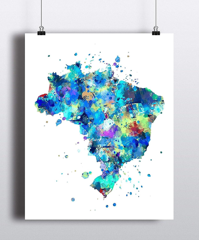 Brazil Map Art Print Sale Wall Contemporary Poster Modern Soldering