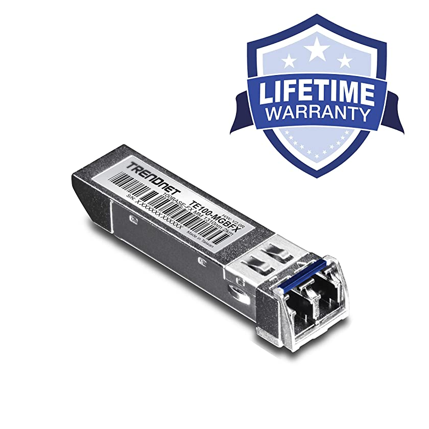 TRENDnet 100Base-FX SFP Multi-Mode LC Module, Compatible with Mini-GBIC, Supports 1310 nm, Hot-Pluggable, 2 Km (1.2 Miles), Lifetime Protection, TE100-MGBFX