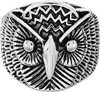 Oxidized Stainless Steel Owl Ring for Men