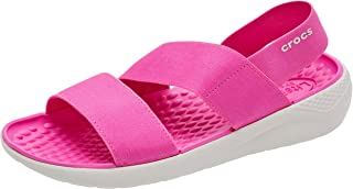 Crocs Women's LiteRide Stretch Sandals Water Shoes, Electric Pink/Almost White, 8 M US