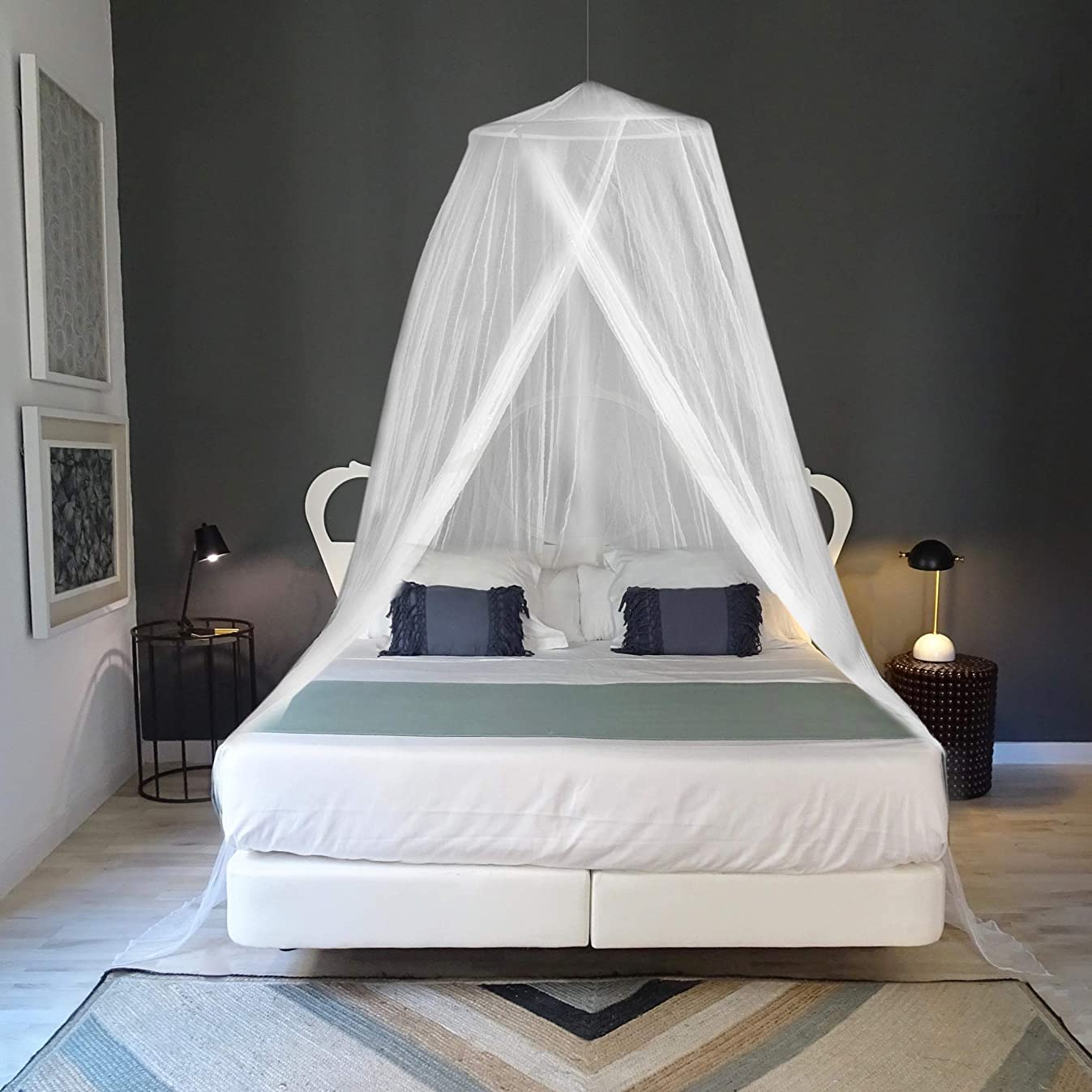 EVEN NATURALS Luxury Mosquito Net for Bed, for Single to King Size, Quick and Easy Installation System, Unique Internal Loop, 2 Entries, Strong Carry Bag, No Chemicals Added