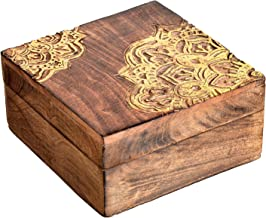 SAAGA Multipurpose Decorative Wooden Jewelry Trinket Holder Keepsake Storage Box with Mandala Design/Handmade : 7x7x3.25 inches (LxBxH)