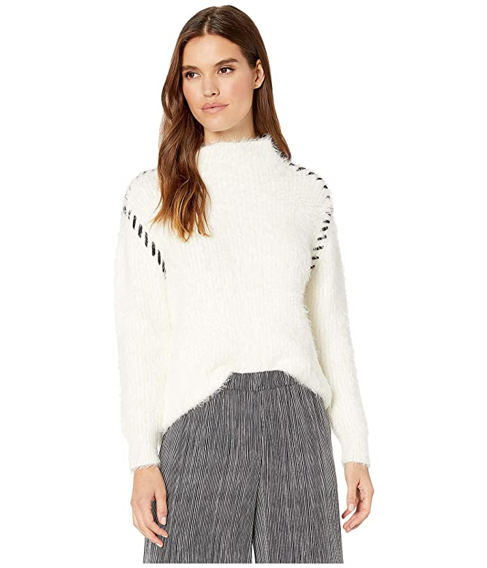 1.STATE  Whipstitch Eyelash Turtleneck (Antique White) Womens Sweater