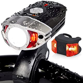 LuxPower Bike Light Set Rechargeable Galaxy 400 Lumens LED Bicycle Head and Tail Lights, 6-Hour Runtime, Brightest Water Resistant Front and Rear Safety Lamps - Great Cycling and Biking Gift