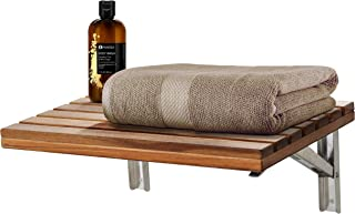 ANZZI Goreme 17 in x 12.6 in Wall Mounted Folding Teak Shower Seat | 280 lbs Weight Capacity Wood and Stainless Steel Spa Bench Fold Down Seat for Bath | Modern Wooden Foldable Shower Chair | AC-AZ204