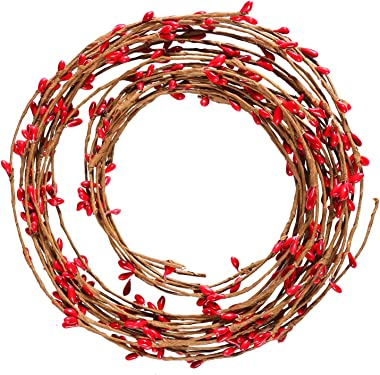 Resinta Red Pip Berry Garland Red Single Ply Pip Berry Garland for Christmas Craft Décor or Celebrations Embellishing, 42 Fee
