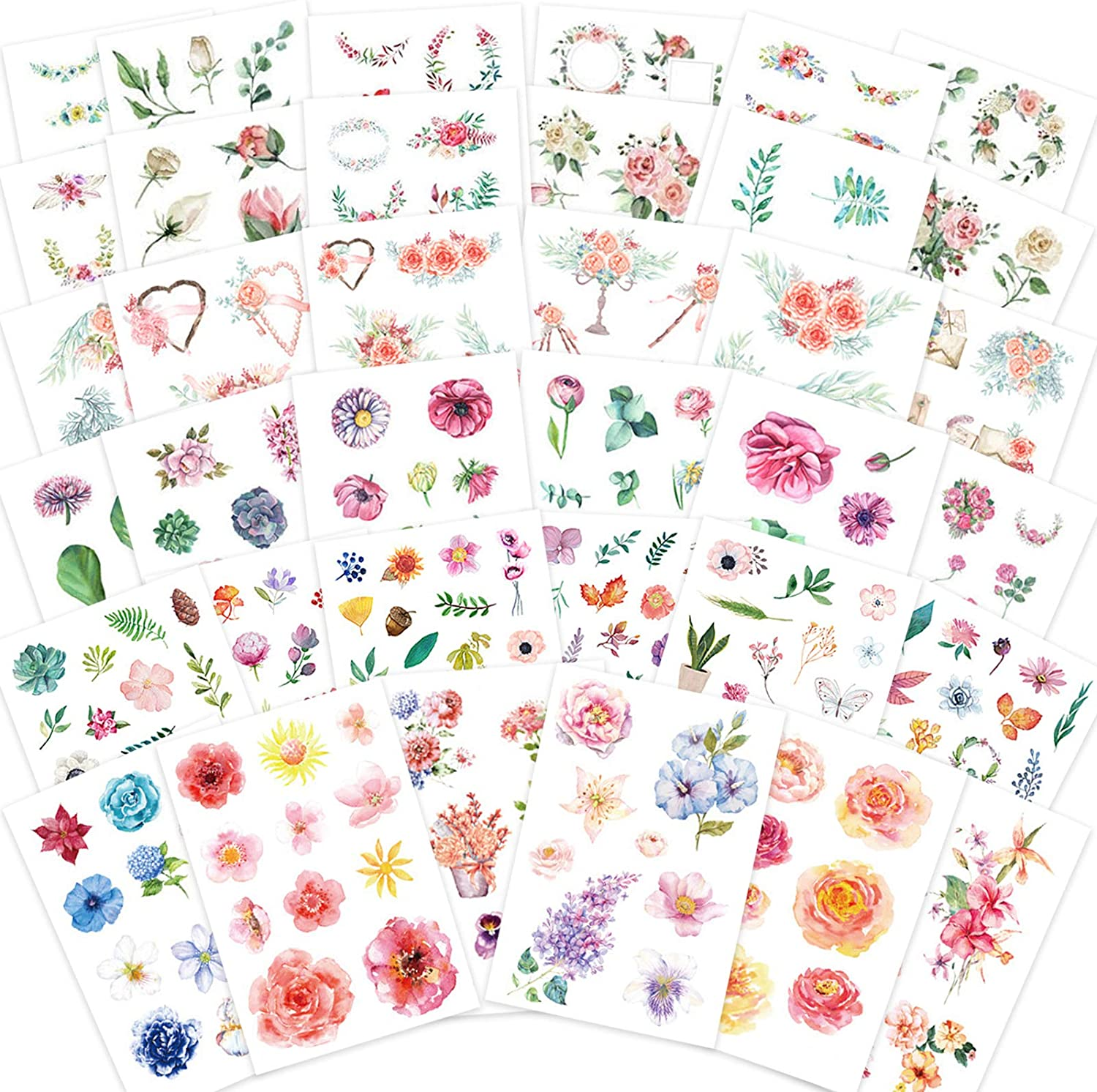 Knaid Watercolor Flower Stickers Set (Assorted 36 Sheets) - Decorative Sticker for Scrapbooking, Kid DIY Arts Crafts, Album, Bullet Journaling, Junk Journal, Planners, Calendars and Notebook