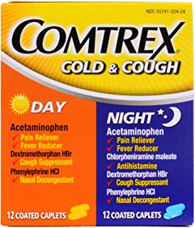 Comtrex Cold & Cough Coated Caplets Day/Night - 24 ct, Pack of 2