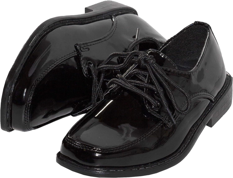Tuxgear Boys Square Toe Patent Leather Shiny Tuxedo Shoes, Black, 12 (Black,12)