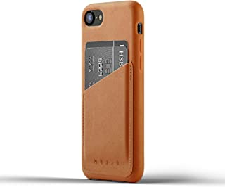 Mujjo Full Leather Wallet Case for iPhone 8, iPhone 7 | Premium Genuine Leather, Natural Aging Effect | Leather Pocket for 2-3 Cards (Tan)