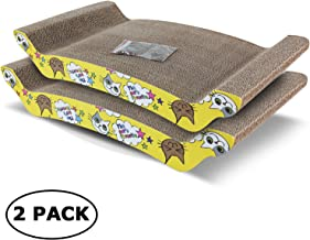 ScratchMe 2 Pack Cat Scratching Cardboard Scratcher Pads with Catnip, Recycle Corrugated Scratching Pad to Sharpen Claws Pet, Yellow
