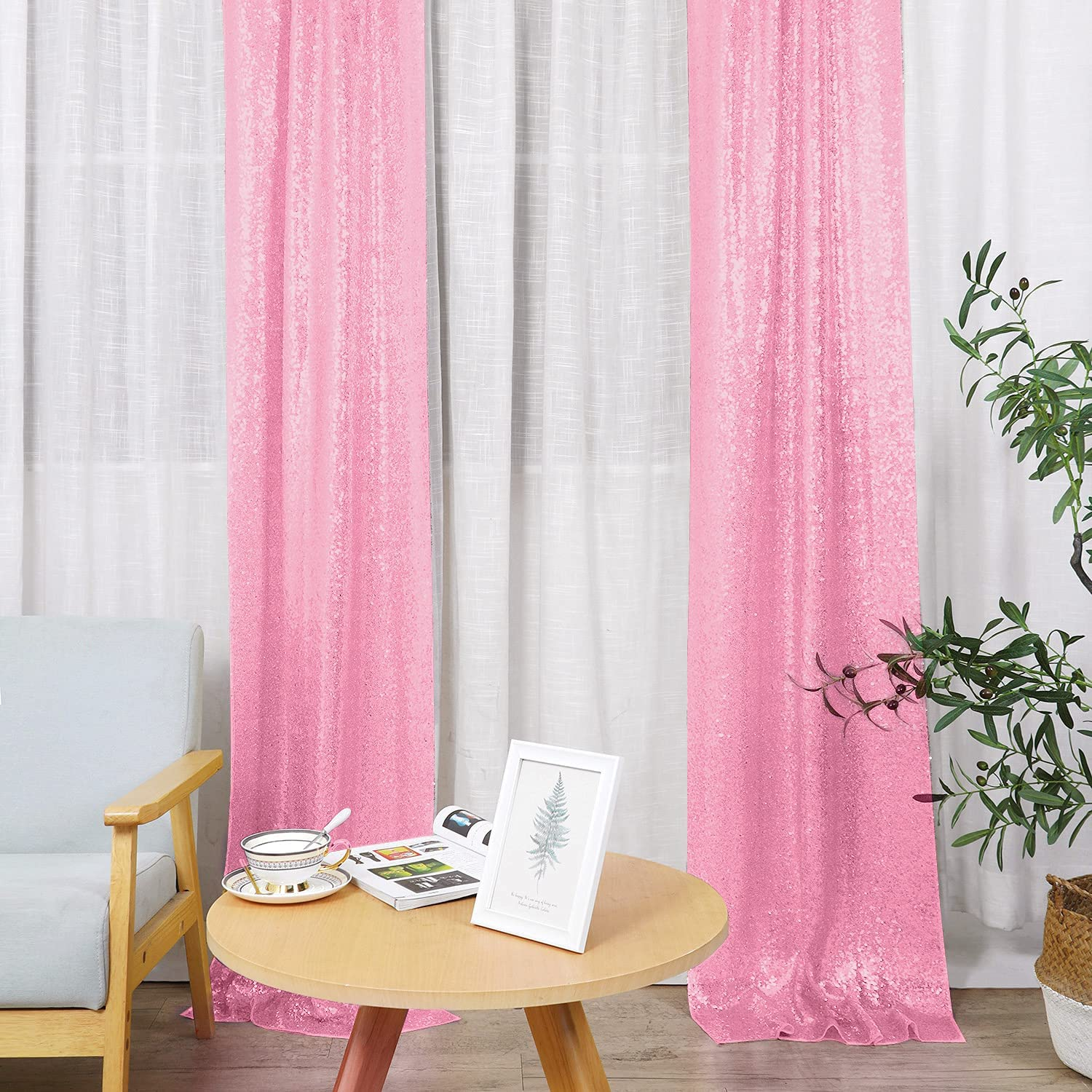 Hahuho Pink Super special price Animer and price revision Sequin Backdrop Curtain Glitter Backdr 2FTx8FT 4PCS