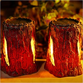 TONULAX Solar Lights Outdoor,Stump On Fire Torch Lights,Flickering Flame Lantern Lights,Solar Powered Landscape Decoration...