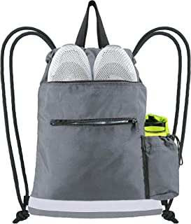 Drawstring Backpack Bag Heavy Duty String Sports Equipment Storage Cinch Gym Sackpack for Beach Travel Camping Workout Gear