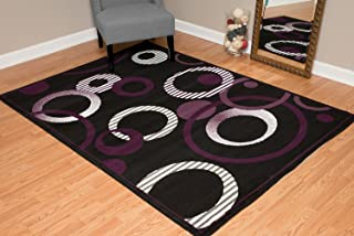 United Weavers of America Dallas Hip Hop Rug - 7ft. 10in. x 10ft. 6in. Plum, Area Rug with Jute Backing, Circular Geometric Design