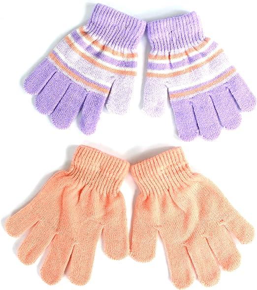 Striped Stretch Knit Cuff Beanie Winter Pom Hat and 2-Pack Mitten Glove Gift Set