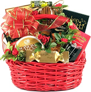 Date Night, Romantic Gift Basket with Italian Themed Dinner for Two: Including Handmade Pasta, Deluxe Sauce Mix, Breadstic...