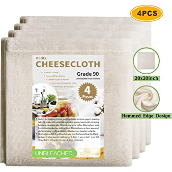 Olicity Cheesecloth, 20x20 Inch, Grade 90, 100% Unbleached Pure Cotton Muslin Cloth for Straining, Ultra Fine Reusable Hemmed Edge Cheese Cloth Fabric Filter for Cook, Brew Coffee Strainer (4 Pieces)
