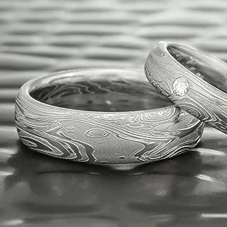 Men's Damascus Steel Domed Wedding Ring   TIDEPOOLS