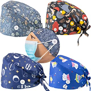 SATINIOR 4 Pieces Bouffant Hats with Button Sweatband Adjustable Tie Back Caps Printed Hair Covers for Women Men