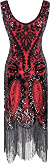 YENMILL Women's 1920s Sequin Fringed Paisley Flapper Crewneck Roaring 20s Great Gatsby Party Dress