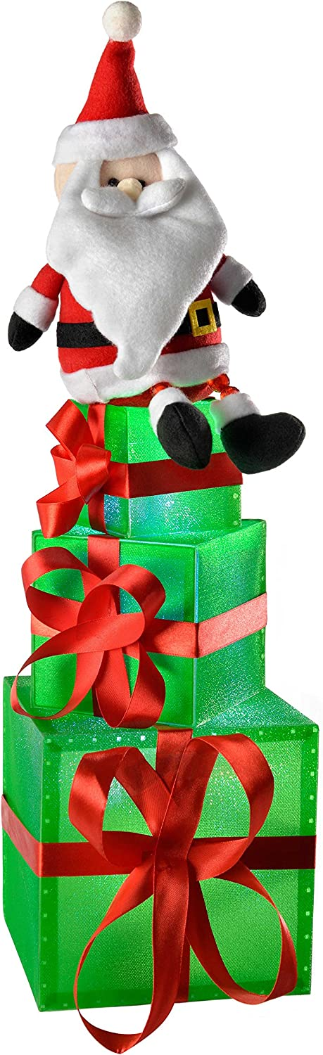 WeRChristmas Pre-Lit Fees free Santa Gift Free shipping anywhere in the nation Box Colour Ch Changing LED Tower