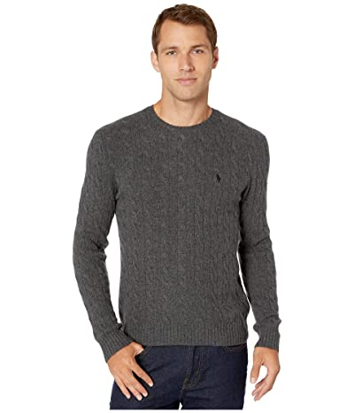 Polo Ralph Lauren Wool Cashmere Long Sleeve Cable Knit Sweater (Dark Charcoal Heather) Men