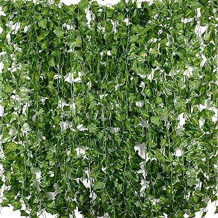 b9b00230341b4d BETESSIN 24pcs*2m Lierre Plante Artificielle Exterieur Faux Lierre Feuillage  Artificiel Feuille Guirlande Décoration Interieur