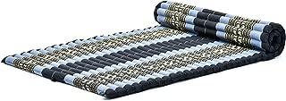Leewadee Roll-Up Thai Mattress Guest Bed Yoga Floor Mat Thai Massage Pad XL Twinsize Eco-Friendly Organic and Natural, 79x41x2 inches, Kapok, Blue