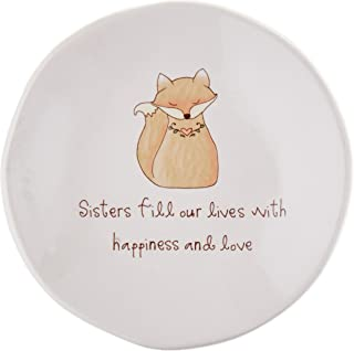 Pavilion Gift Company 78070 Heavenly Woods - Sisters Fill Our Lives with Happiness & Love Fox Jewelry Dish
