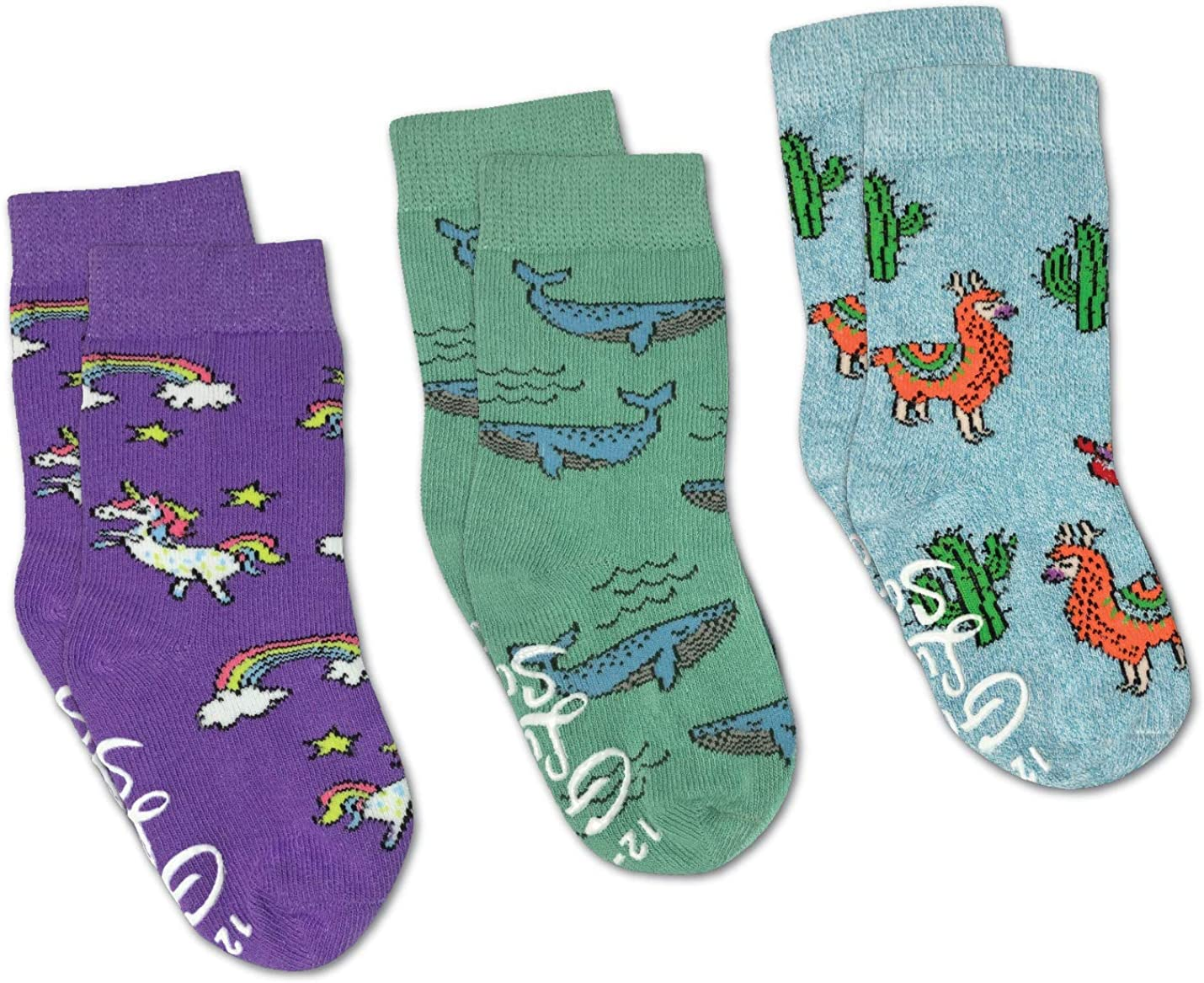 Llamas, Unicorns and Whales Kids Toddler Socks, 3-Pack