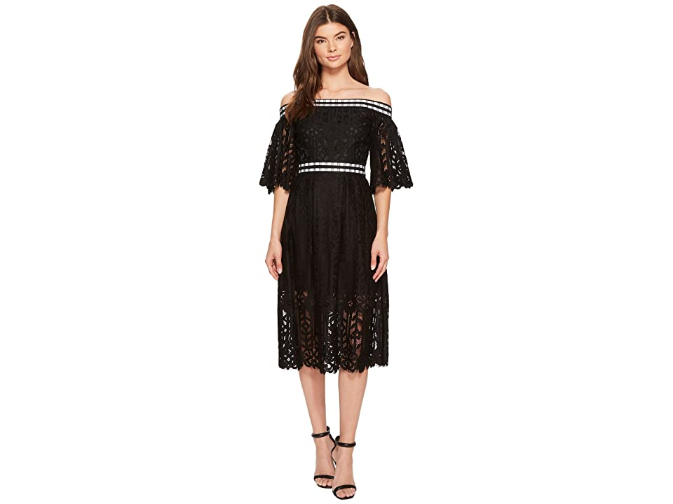 Laundry by Shelli Segal Off the Shoulder Midi Lace Dress with Scallop Hem (Black) Women