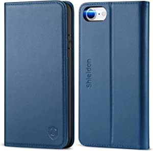 SHIELDON iPhone SE 2020 Case, iPhone 8 Case, Genuine Leather iPhone 7 Wallet Case with Magnetic Closure Credit Card Holder Flip Stand Folio Cover Compatible with iPhone SE2/8/7 (4.7