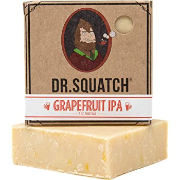 Dr. Squatch Beer Soap Bar – Crisp IPA Men's Bar Soap with Beer and Distilled Hops – Soap for Men with Natural Citrus Scent – Handmade in USA