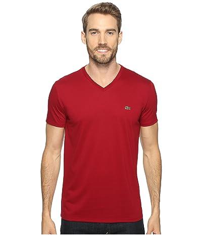 Lacoste Short Sleeve Pima Jersey V-Neck T-Shirt (Bordeaux) Men