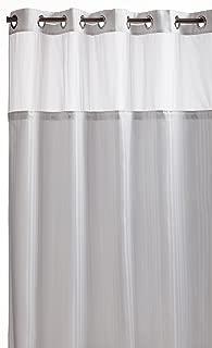 Hookless RBH53MY306 Herringbone Built-in Fabric Liner Fabric Shower Curtain - White