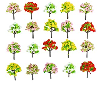 NW 100pcs 1.57inch Colorful Model Trees Model Train Scenery Architecture Trees Model Scenery No Stands(4cm)