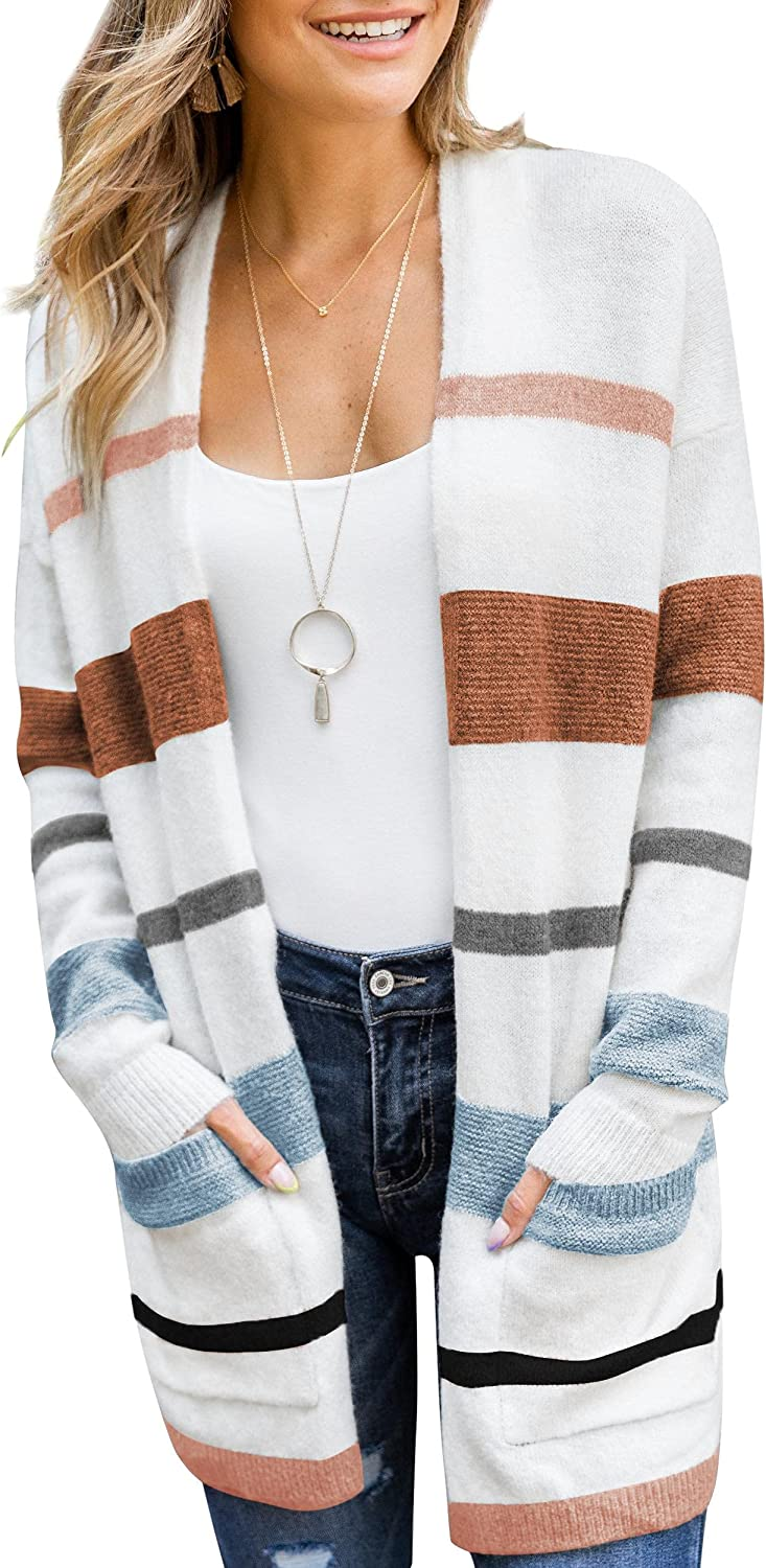 Women's Long Cardigan Striped Color Knit Front Open Casual Sales Block Online limited product