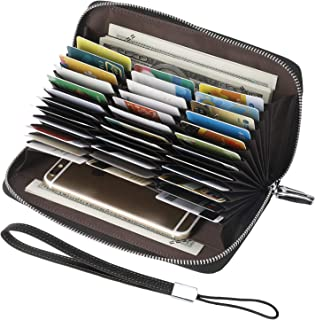 Lavemi RFID Blocking 36 Credit Card Holder Leather Wallets for Women with Wristlet Zip Around,Large Capacity